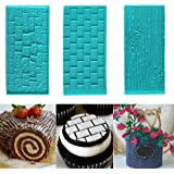 3pc Plastic Embossed Icing Moulds Kits by Kurtzy - Brick, Wood and Cobblestone Designs for Chocolate and Icing - Easy to clean - Perfect for Cake Edging ,Cup cakes and Biscuits - Mould Sheets