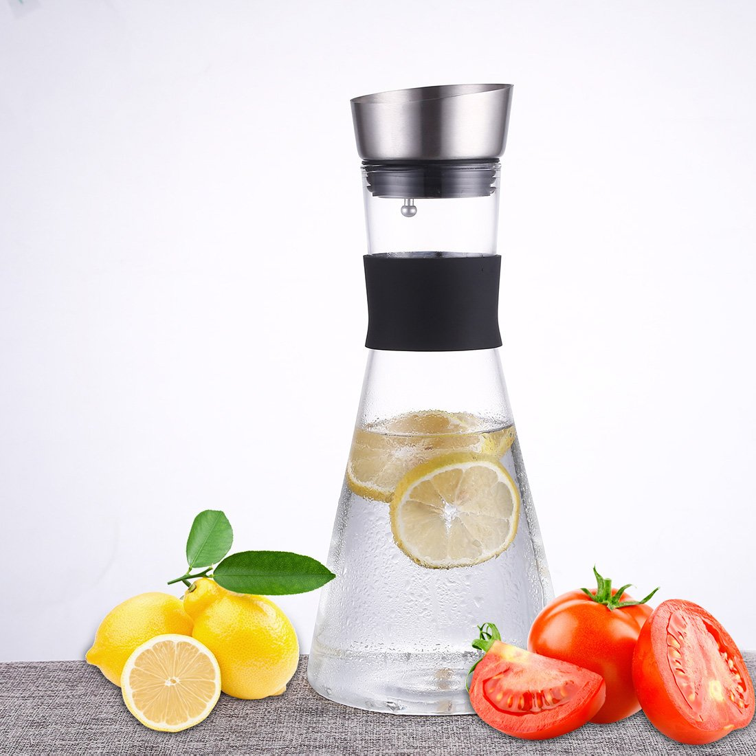 JIAQI 51 Ounces Borosilicate Glass Carafe with Stainless Steel Silicone Flip-top Lid - Glass Water Pitcher Glass Fridge Carafe Ice Tea Maker QLYGYBL560