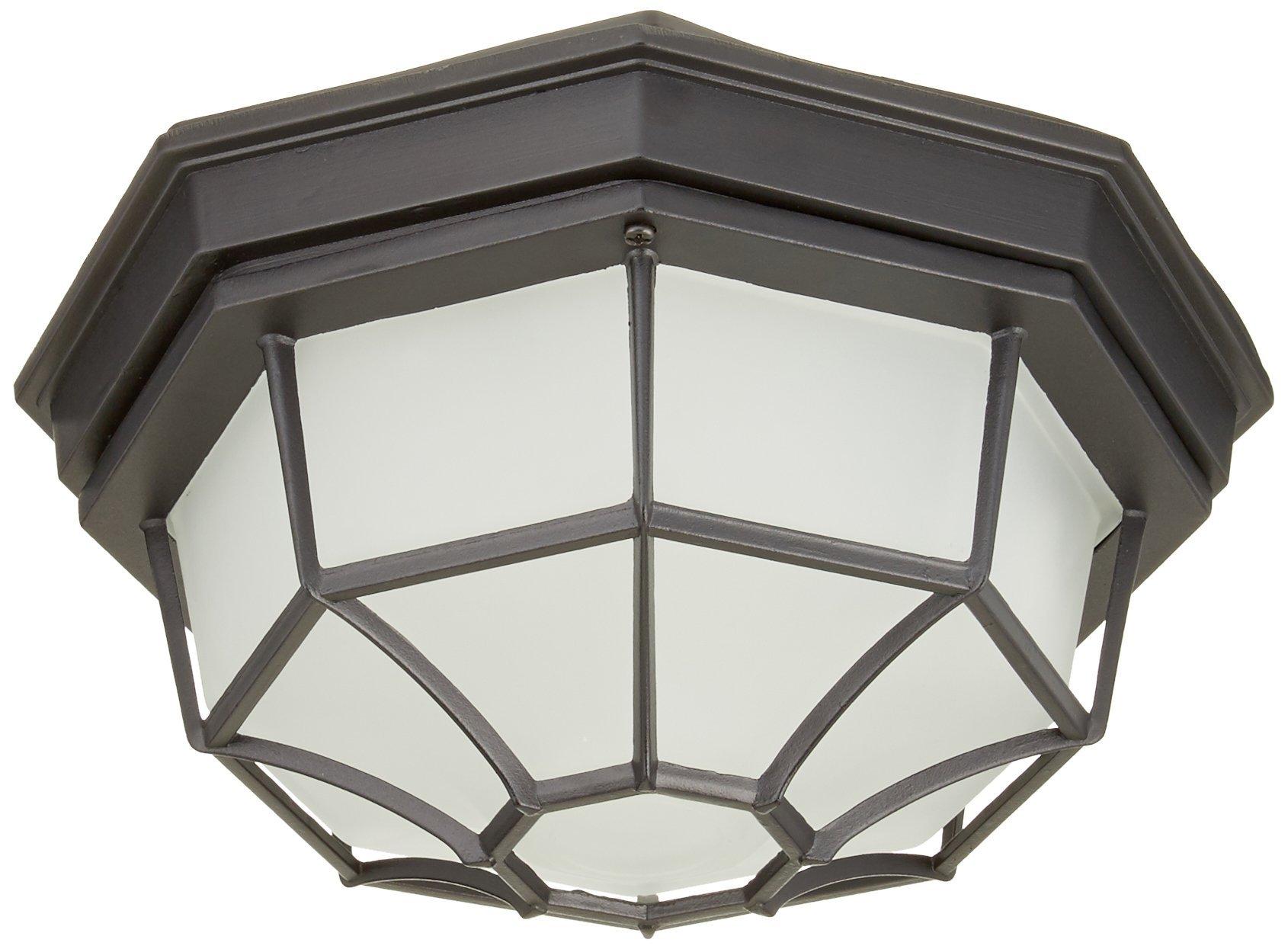 Trans Globe Lighting 40582 BK Outdoor Benkert 5'' Flushmount Lantern, Black