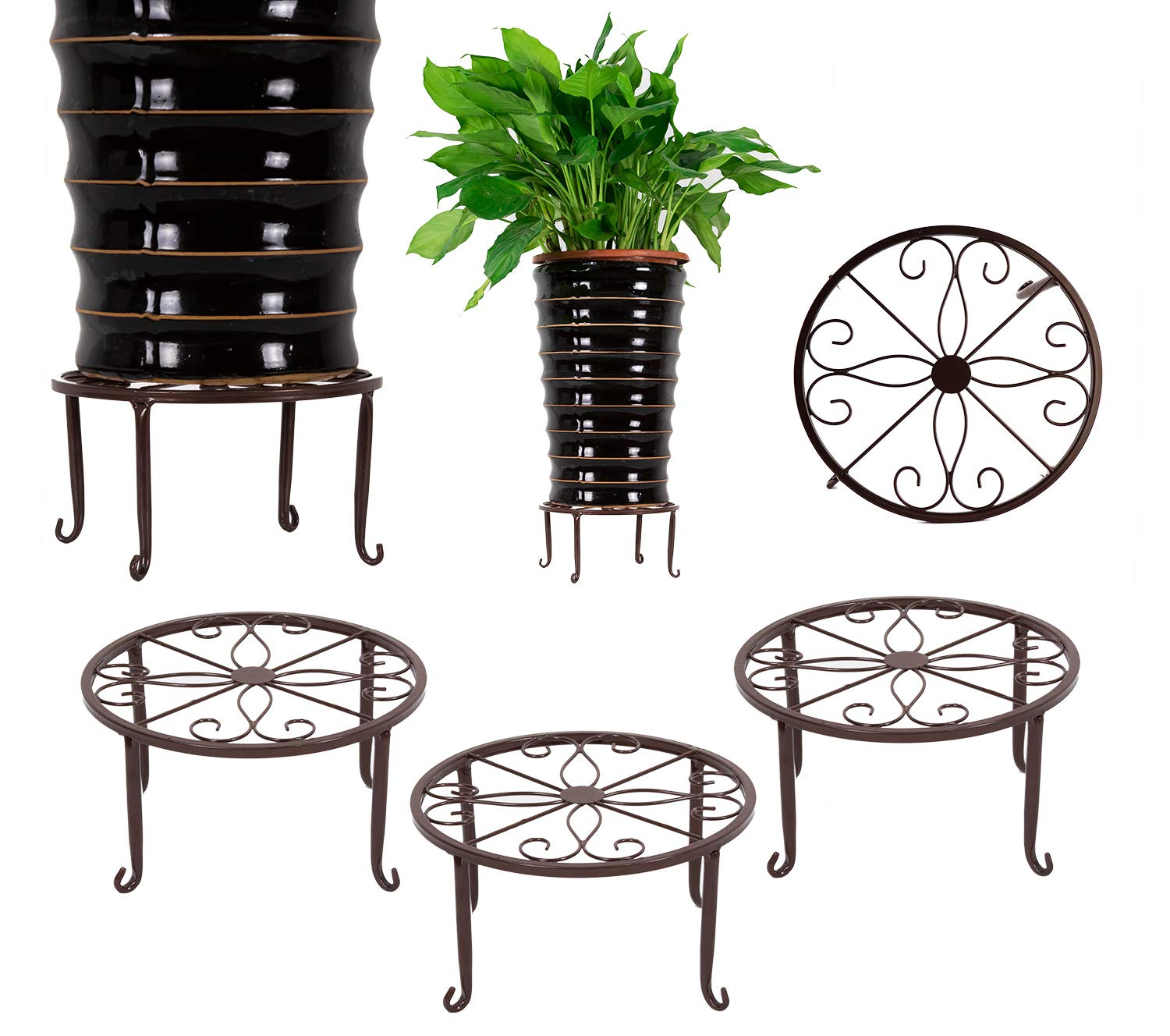 3 Pack Metal Potted Plant Stands Flower Pot Holder 9 inches Heavy Duty 50lb Pre-Assembled Round Rack, Bronze Color by DeElf