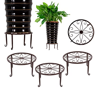 211 & 3 Pack Metal Potted Plant Stands Flower Pot Holder 9 inches Heavy Duty 50lb Pre-Assembled Round Rack Bronze Color