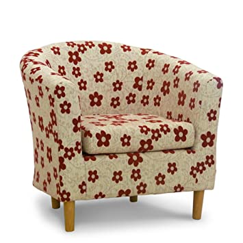Fabric Tub Chair - Bucket Seat - Classic Tub Chairs Design - Red ...