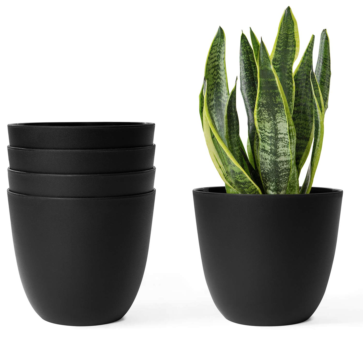 Foliage Plants Black Mkono 6.5 Inch Plastic Planters Indoor Set of 5 Flower Plant Pots Modern Decorative Gardening Pot with Drainage for All House Plants African Violets Flowers Herbs