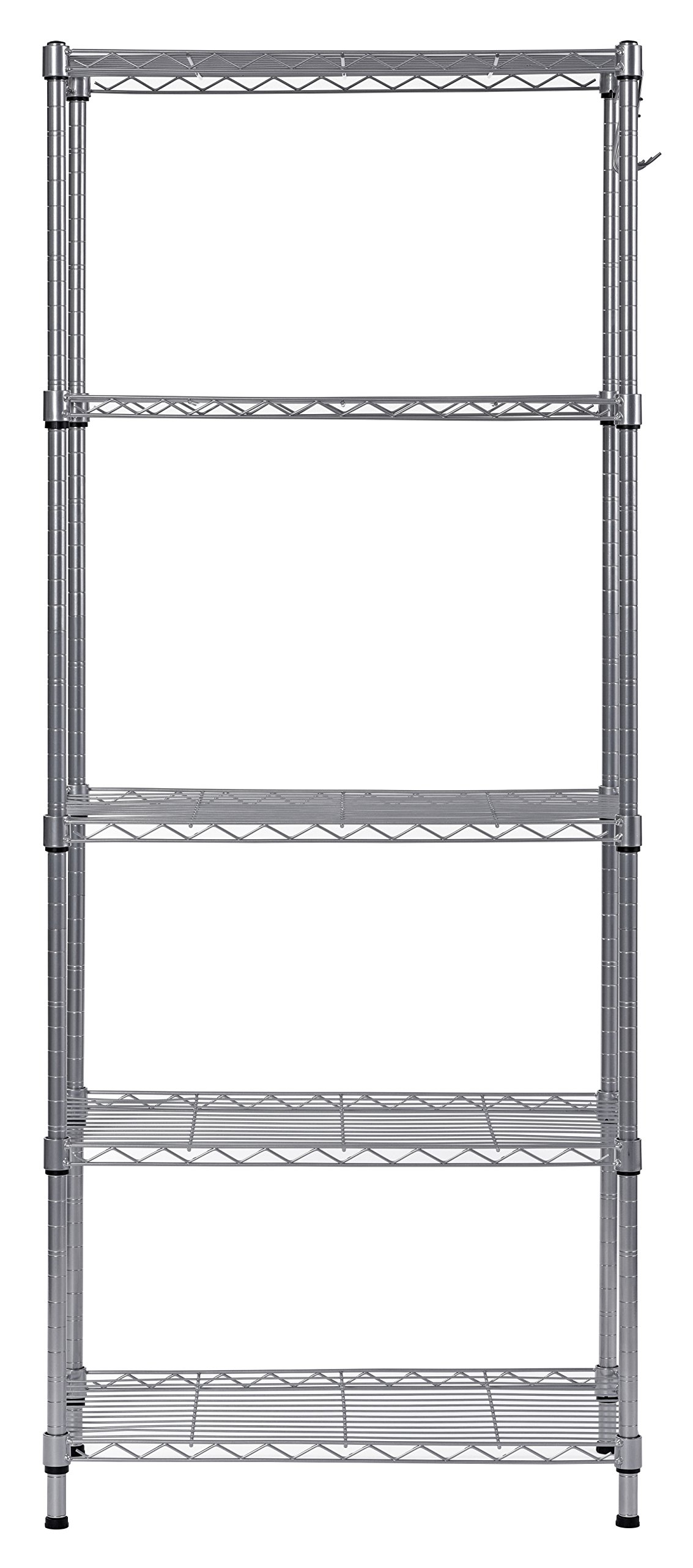 Muscle Rack WS241459-5S 5 Tier Wire Shelving with Hooks in Silver, 59'' Height, 24'' width, 14'' Length