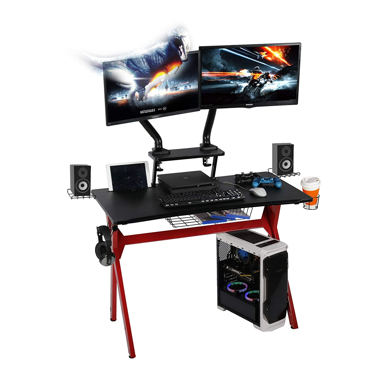 lazzo 41 Computer Gaming Desk,PC Game Table,41 x23.6 WXD ,Includes Removable Monitor Stand,Cup Holder,Wire Storage Ring,Headphone Hook,Speaker Stand,Gamer Workstation for Home Office, Red