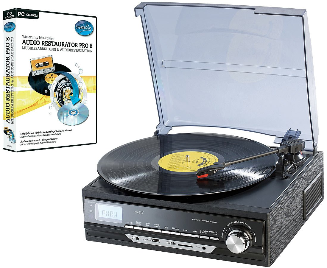 Auvisio UPL-850.MP3 - Tocadiscos (salida USB, radio, grabadora MP3 ...