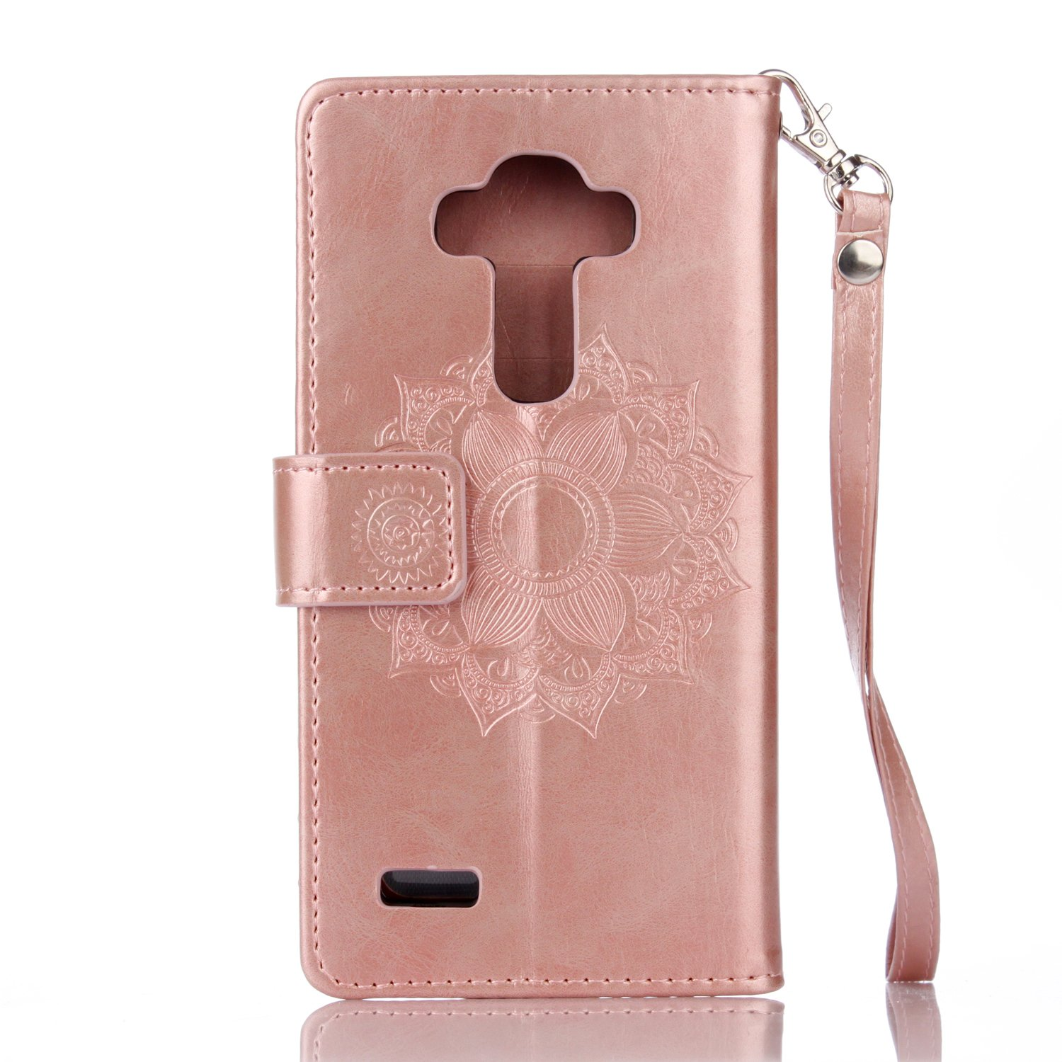 IKASEFU LG G4 Case,Clear Crown Rhinestone Diamond Bling Glitter Wallet with Card Holder Emboss Mandala Floral Pu Leather Magnetic Flip Case Protective Cover for LG G4,Rosa Gold by IKASEFU (Image #5)
