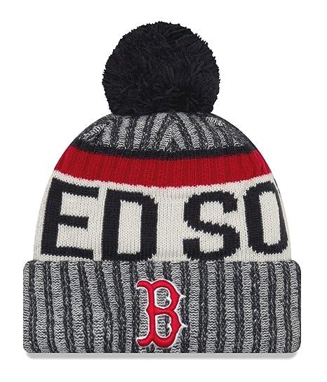 c982a93fccb Amazon.com   New Era Boston Red Sox MLB NE17 Sport Knit Hat with Pom    Sports   Outdoors