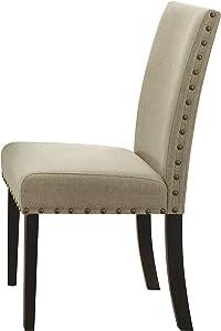 ACME Furniture Hadas Side Chair (Set of 2), Beige Fabric