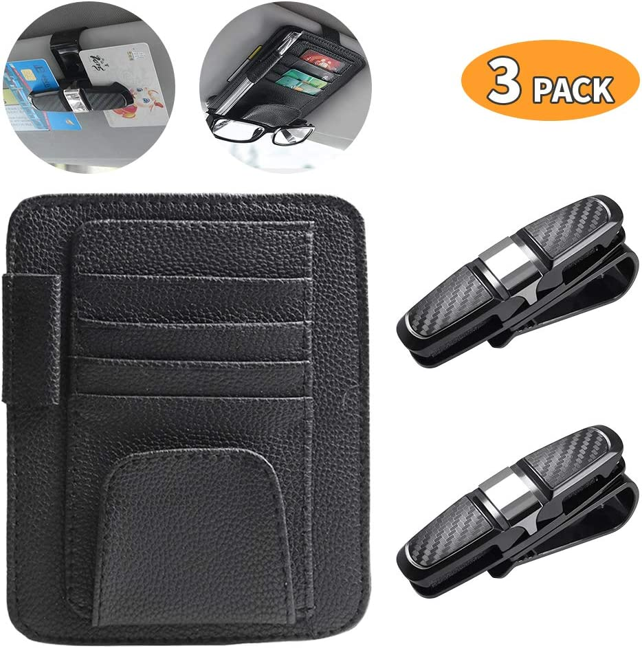 Black Cards Holder PU Leather with Velcro Sunglasses Holder Intsun 3Pcs Car Visor Organizers Combo Double Sunglasses /& Cards Clips ABS with Protective Sponges /& 180 Degree Rotatable