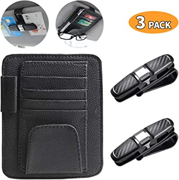 Black Intsun 3Pcs Car Visor Organizers Combo Cards Holder PU Leather with Velcro Sunglasses Holder Double Sunglasses /& Cards Clips ABS with Protective Sponges /& 180 Degree Rotatable