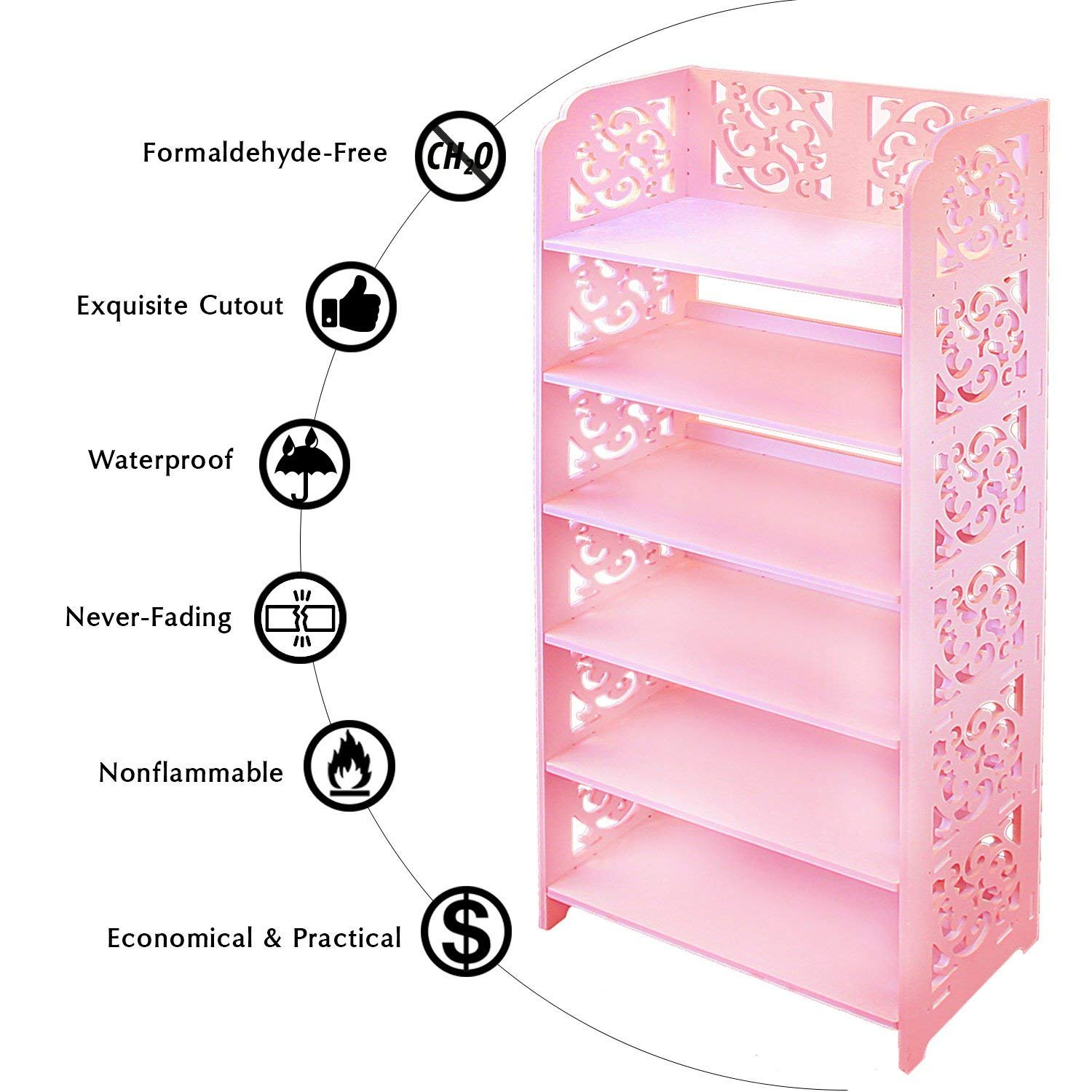 DL furniture WPC Tall 6 Tier Multipurpose Shoe Rack & Book Shelf L16.5 x W9.5 x H38 Environmental Friendly Material | Pink by DL furniture (Image #4)