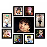 Aadinath Collection Super Classic Wooden Photo Frames (Individual Photo Frame Set of 9 Pcs.) Black Color : ACPF-1116