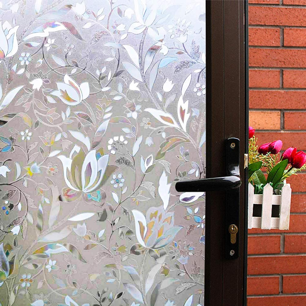 Mikomer Tulip Decorative Window Film,No Glue Frosted Privacy Film,Stained Glass Door Film,Reflective Static Cling Heat Control Anti UV Window Decoration for Home and Office,35 inches by 118 inches