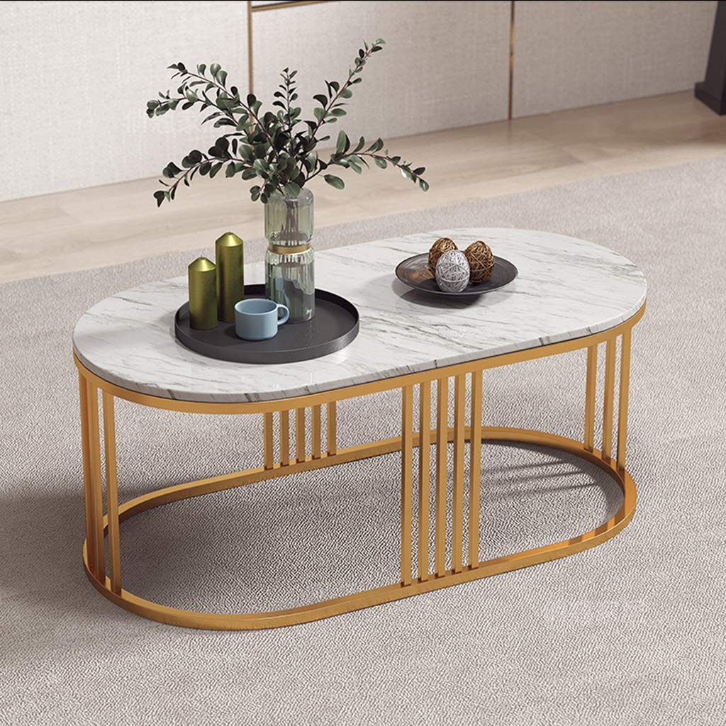 Modern Oval Marble Coffee Table Hd Clear Marble Top Cocktail Center Table For Living Room In White 70x40x45cm 80x50x45cm 100x60x45cm Buy Online In Japan At Desertcart Jp Productid 173138823