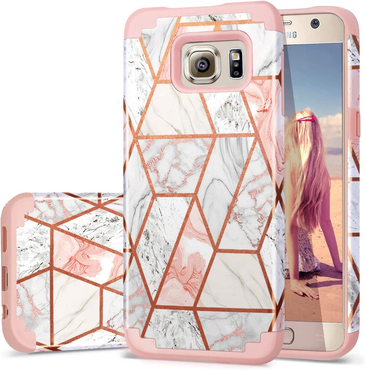 Fingic Samsung Galaxy S6 Case Rose Gold Marble Design Shiny Glitter Bumper Hybrid Hard PC Soft Rubber Silicone Cover Anti-Scratch Shockproof Protective Case for Galaxy S6 Case (2015) - Rose Gold