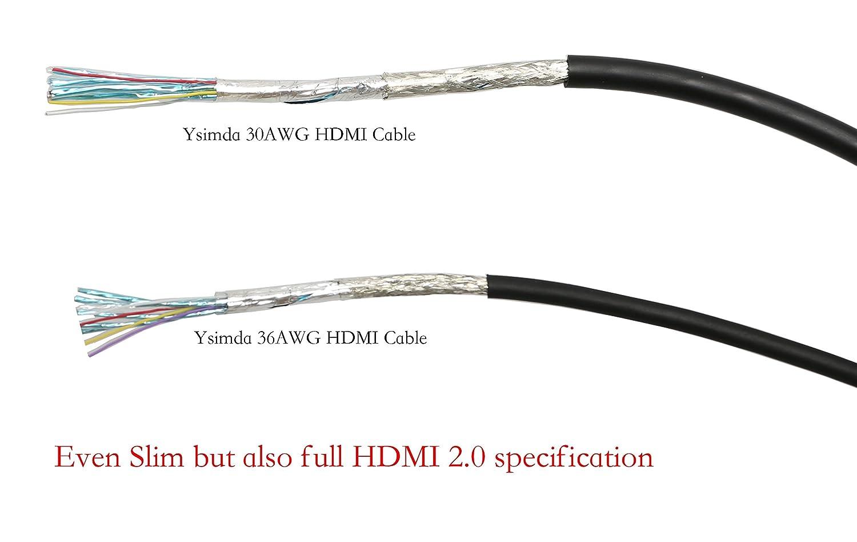 ysimda Ultra delgado Flexible serie RedMere activo HDMI 2.0 a a un cable de alta velocidad, 15 m, 18 g, soporta ethernet, 3d, 4 K y de retorno de audio: ...