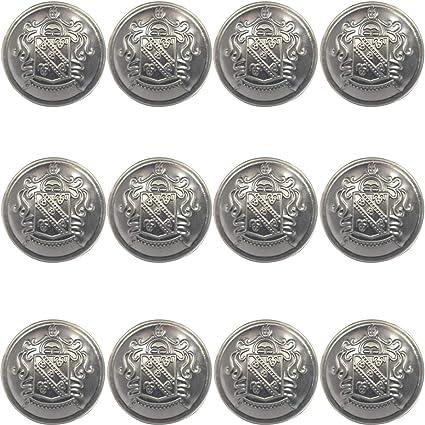 25mm Antique Vintage Beautiful Suits Button Set for Blazer Uniform Coat Jacket Suits Funcoo 10 pcs Hollow Metal Sewing Button Silver