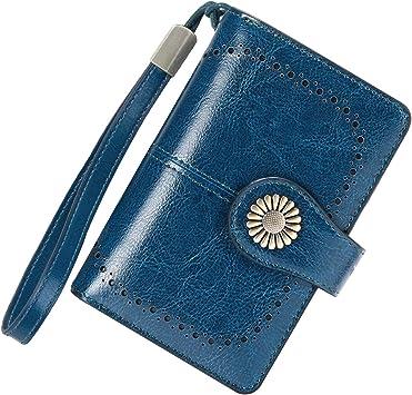 Cartera Mujer Mediana Bloqueo RFID Billeteras Mujer Piel Autentica con Cremallera, Gran Capacidad Billetera Monedero Mujer con Portafoto, Carteras Elegante Mujer con Correa Muñeca 13 Tarjetas (Azul): Amazon.es: Equipaje