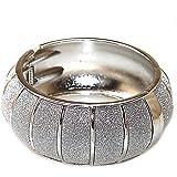 Bracelet clic clac en métal strass brillant cristal argenté