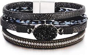 FANCY SHINY Leather Wrap Bracelet Boho Cuff Bracelets Crystal Bead Bracelet with Magnetic Clasp for Women