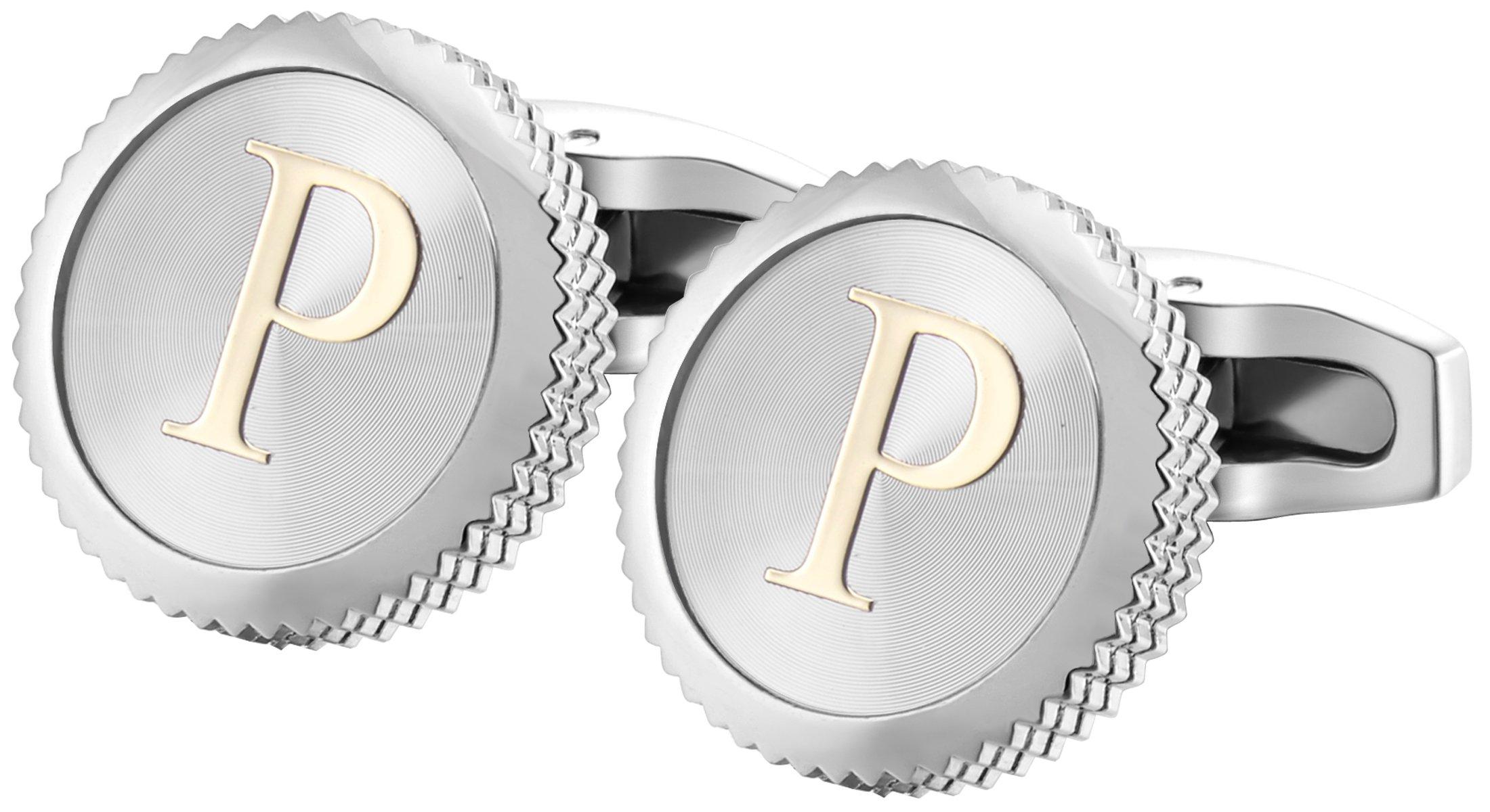 GGemony Men's Shirt Cufflinks 2PCS,Premium Quality Personalized Alphabet Letter A-Z (P-1Pt/)