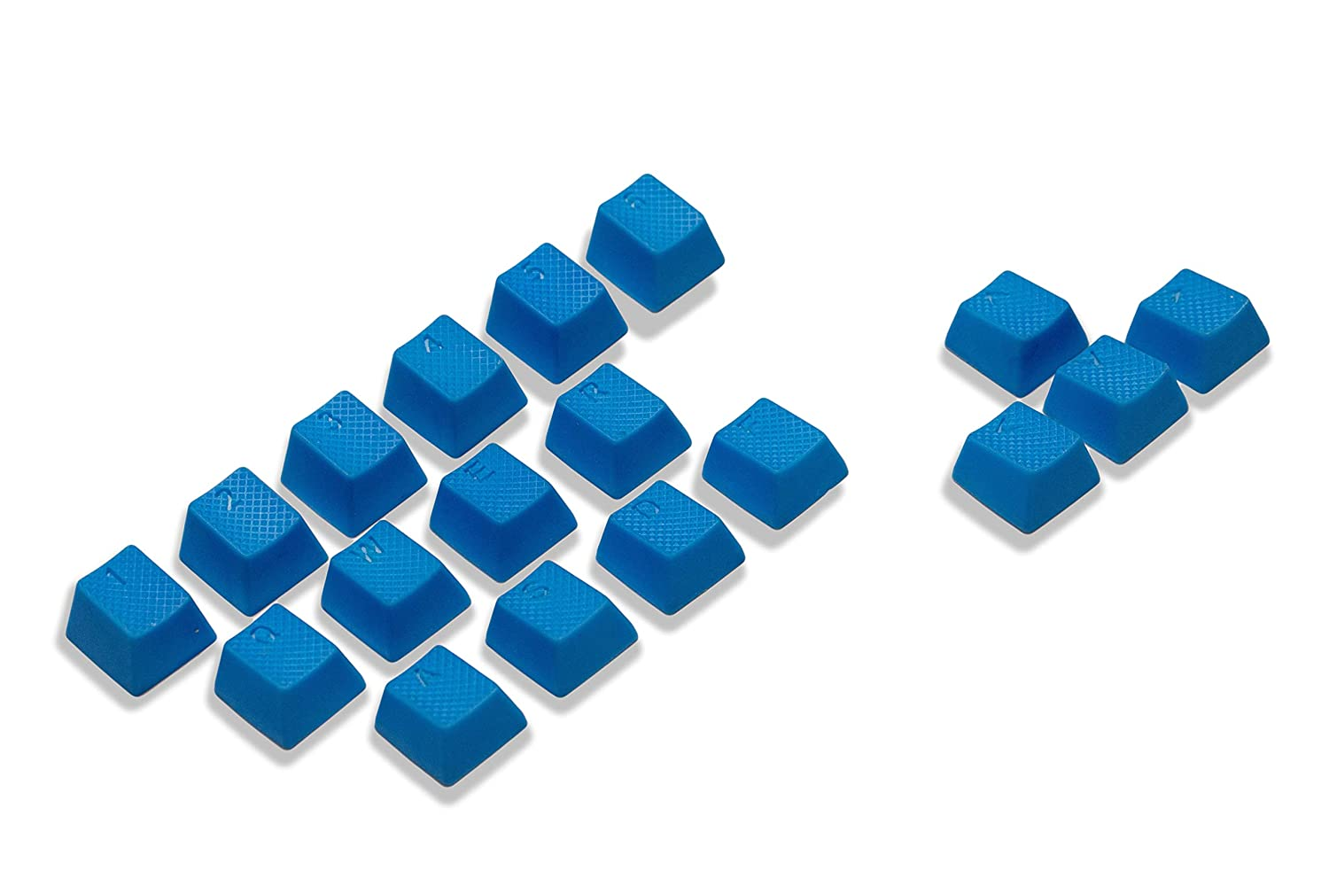 VULTURE Rubber Keycaps Cherry MX Double Shot Backlit 18 Keycap Set Compatible for Gaming Mechanical Keyboard OEM Profile Doubleshot Rubberized Diamond Textured Tactile Grip with Key Puller Blue