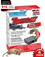 Tomcat Mouse-Rodent Killer -Child and Dog Resistant -Disposable 4 Pack Bait Station for MICE-Rate-Rodent Certified by Health Canada REG# 30757