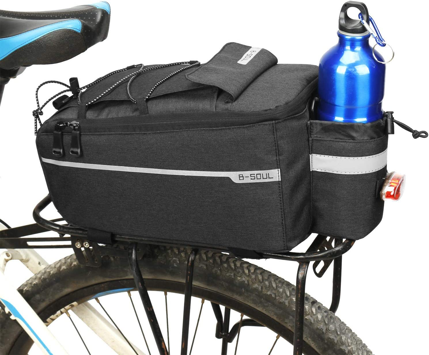 GLE2016 Bike Trunk Bag Bicycle Rear Seat Bag Carrier Bag Reflective MTB Bike Pannier Shoulder Bag Insulated Trunk Cooler Bag for Warm or Cold Items
