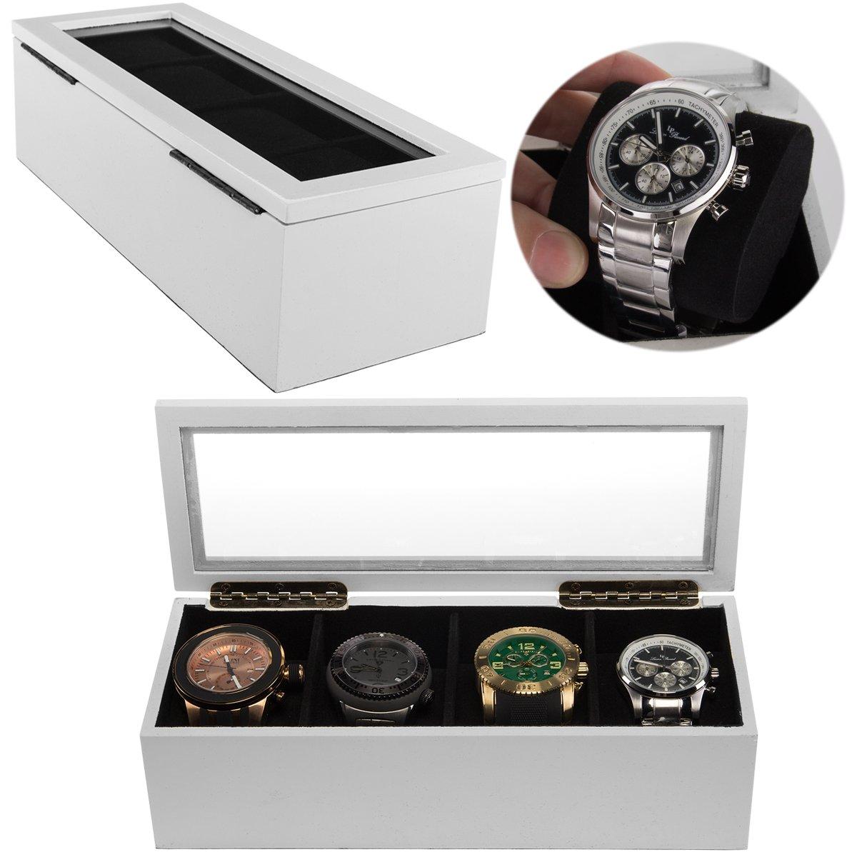 Concepts In Time (2 Pack) White Wrist Watch Holder Display Storage Boxes Organizer Case Soft Black Felt