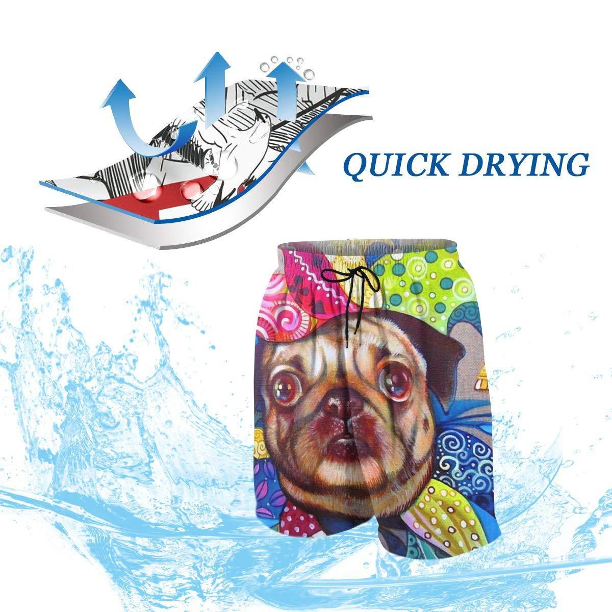Cute Funny Clown Bulldog Bathing Suits Teens Quick-Drying Surf Beach Pants Boardshort