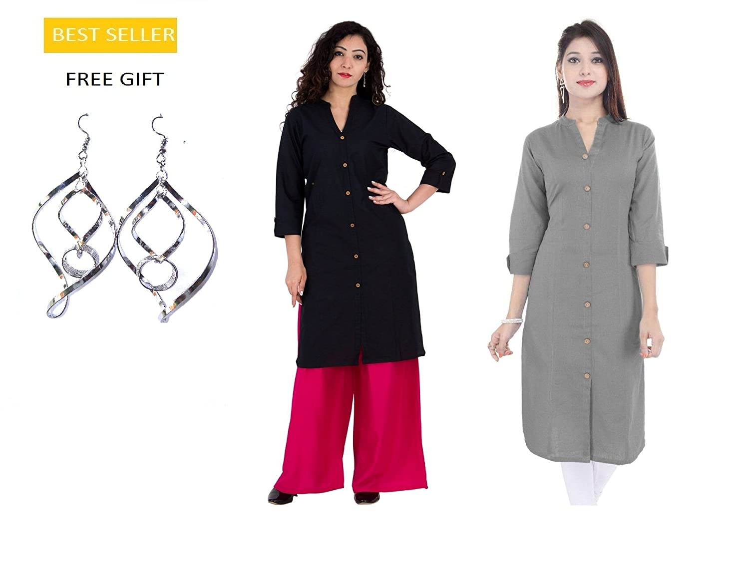 Indian Grey and Black Combo 2pc Straight Cotton Kurti/Kurta for Women Royal Galaxy RG-KUR-0450