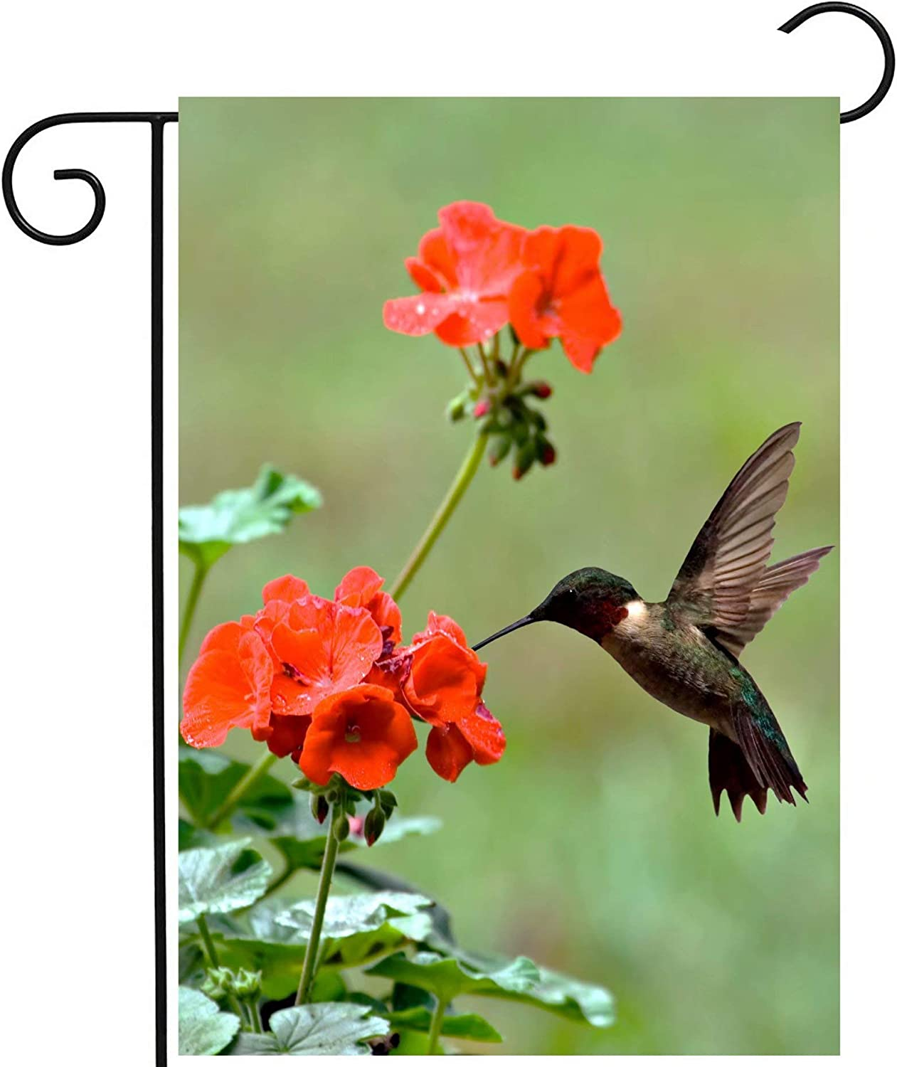 """ShineSnow Hummingbirds Birds Spring Summer Red Flowers Blossom Seasonal Garden Yard Flag 12""""x 18"""" Double Sided Polyester Welcome House Flag Banners for Patio Lawn Outdoor Home Decor"""