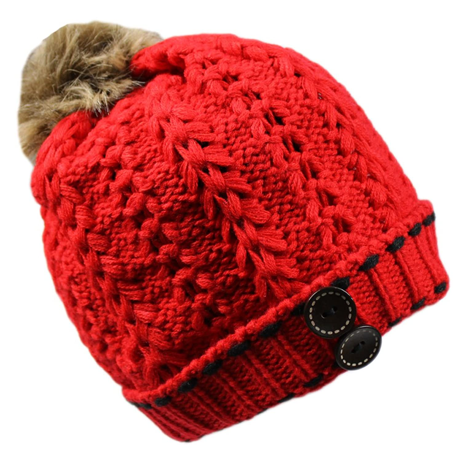 Women's Winter Warm Thick Chunky Slouchy Crochet Ski Skully Knit Beanie Cap Hat