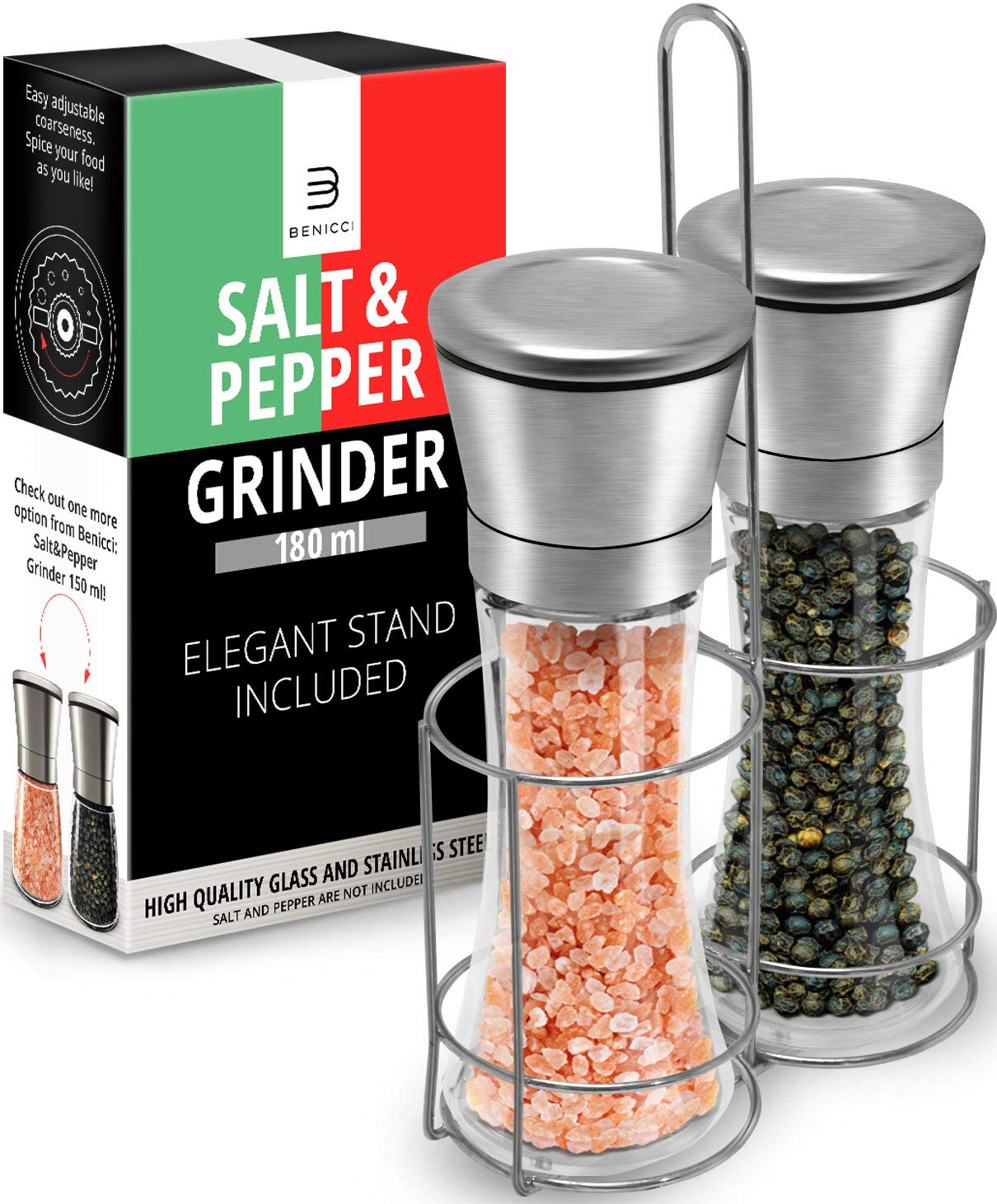 Salt & Pepper Grinder Set - 2 Tall 6 Oz Glass - 180 ml Spice and Sea Salt Shakers With BONUS Stand - Adjustable Coarseness Mills - Easy To Clean - Stainless Steel & Ceramic Rotor - BPA Free by Benicci