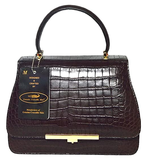 44bdfc1c1924 Authentic M Crocodile Skin Womens Belly W/Strap Clutch Bag Purse ...