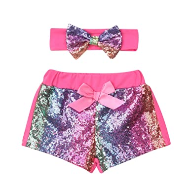 c0885e775 Karuedoo Baby Girls Shorts Toddlers Sequin Shiny Sparkles Short Pants with  Bow (2-3T
