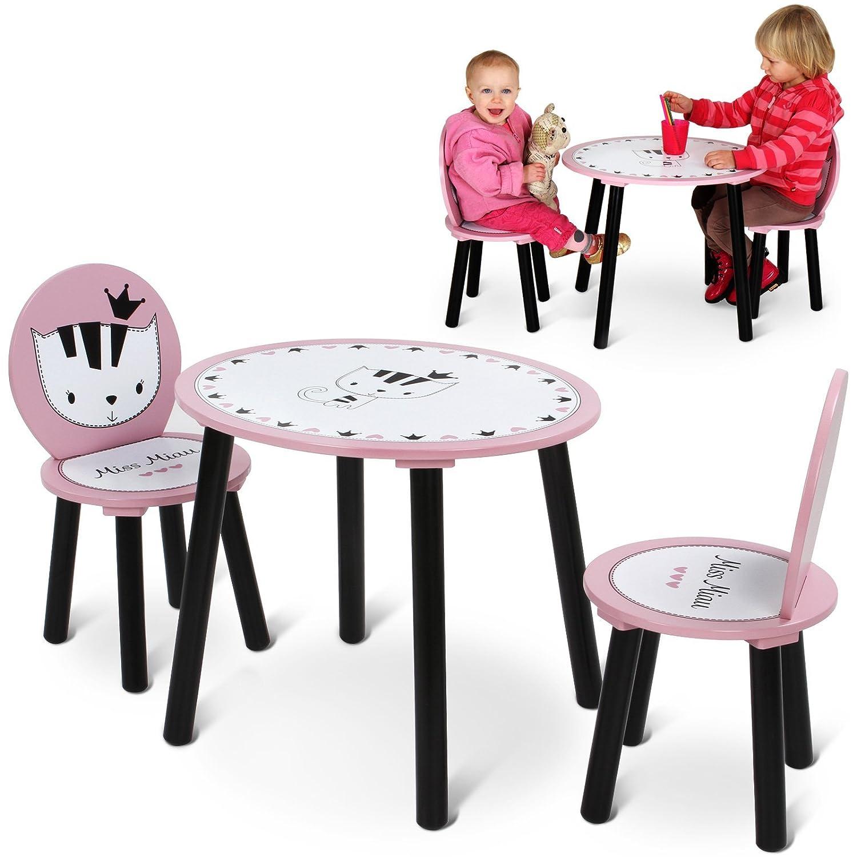 Infantastic Tavolo e sedie rotondi bambini cameretta set tavolo con 2 sedie Miss Miau di legno KDSGE012A0rs000M