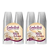 Embellish Crystal Clear Hard Plastic Clear Disposable Shot Glass 30ml- 1Oz. (100 Pcs)