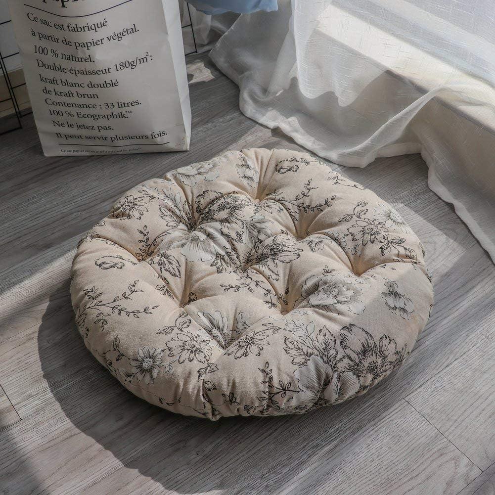 16X16 Pollici Ericcay Tatami Mats Ammortizzazione del Sedile Cuscino per Sedile Imbottito Unico per Esterno da Interno Sedia da Giardino per Ufficio Rotondo Cuscino 40X40Cm