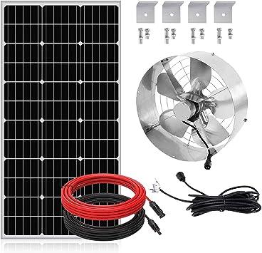 Fisters 12in Solar Powered Attic Ventilator Roof Vent Fan 3000cfm Vent Fan 12 6 Inch 100w 12v Mono Solar Panel Amazon Com