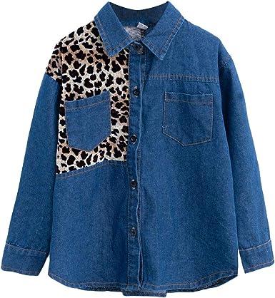 Wenchuang Camisa de Mezclilla para niñas Blusa Suelto Chaqueta Vaquera con Botones: Amazon.es: Ropa y accesorios