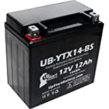 YTX14-BS Battery Replacement (12Ah, 12v, Sealed) Factory Activated, Maintenance Free Battery Compatible with - 2006 Yamaha Apex, 2008 Yamaha Apex, 2011 Yamaha Apex, 2007 Yamaha Apex, 2009 Buell Blast