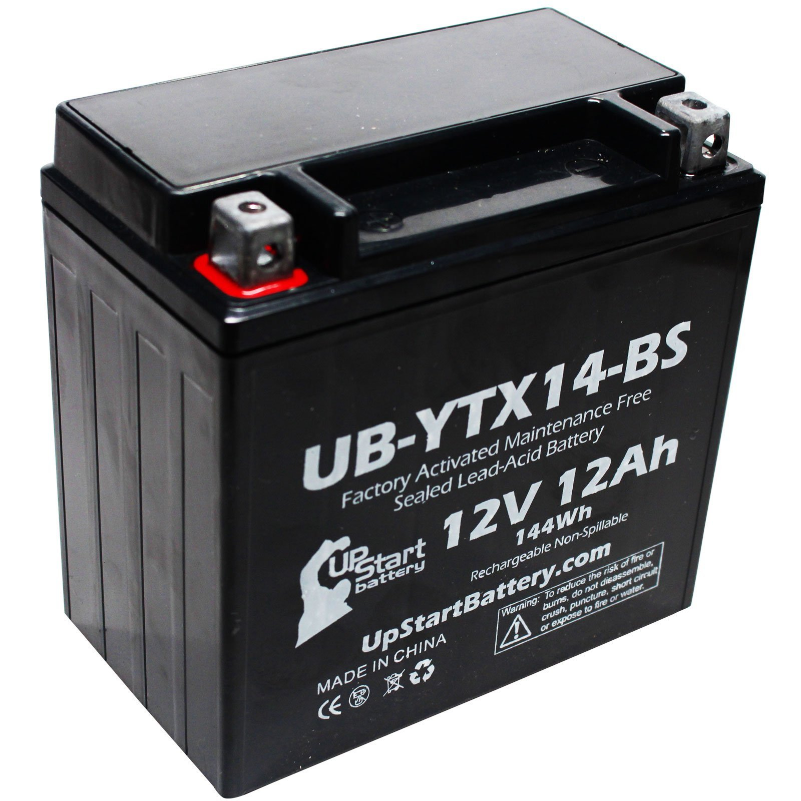 YTX14-BS Battery Replacement (12Ah, 12v, Sealed) Factory Activated, Maintenance Free Battery Compatible with - 2006 Yamaha Apex, 2008 Yamaha Apex, 2011 Yamaha Apex, 2007 Yamaha Apex, 2009 Buell Blast by UpStart Battery