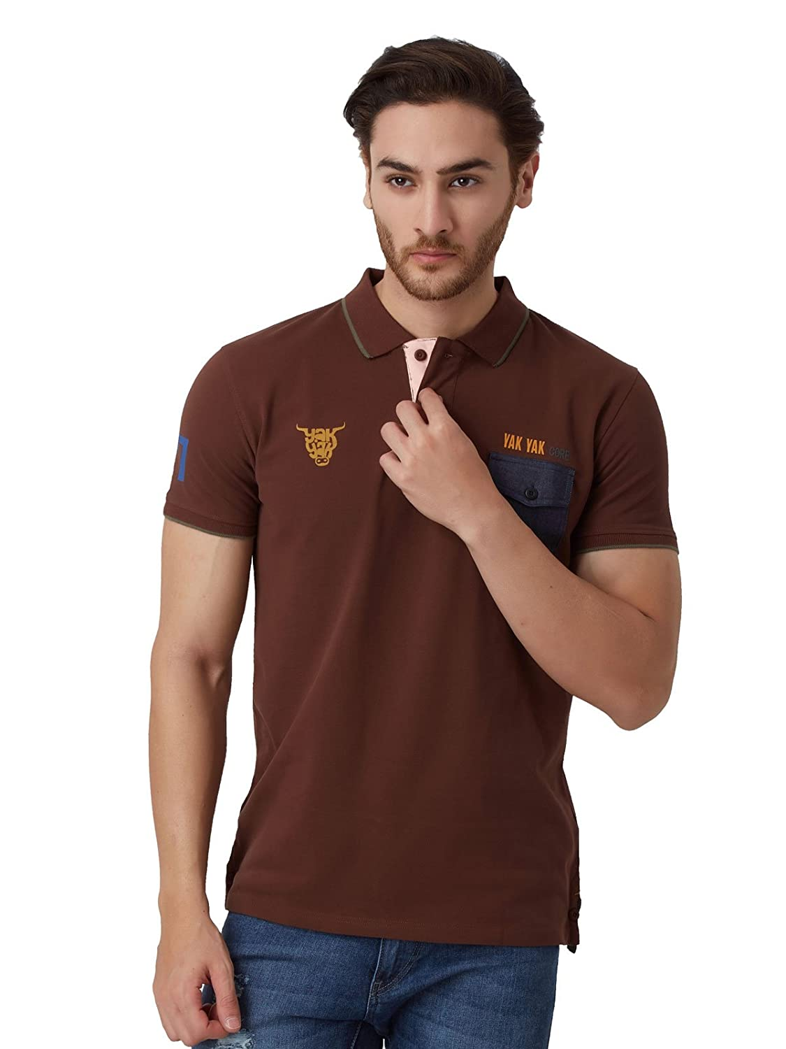 5456d83350a YAK YAK Mens Carafe Polo T-Shirt: Amazon.in: Clothing & Accessories