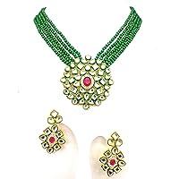Jewar Necklace Set Gold Plated Kundan Polki Ad Cz Gemstones Handmade Meena Work Jewelry for Women & Girls 8504