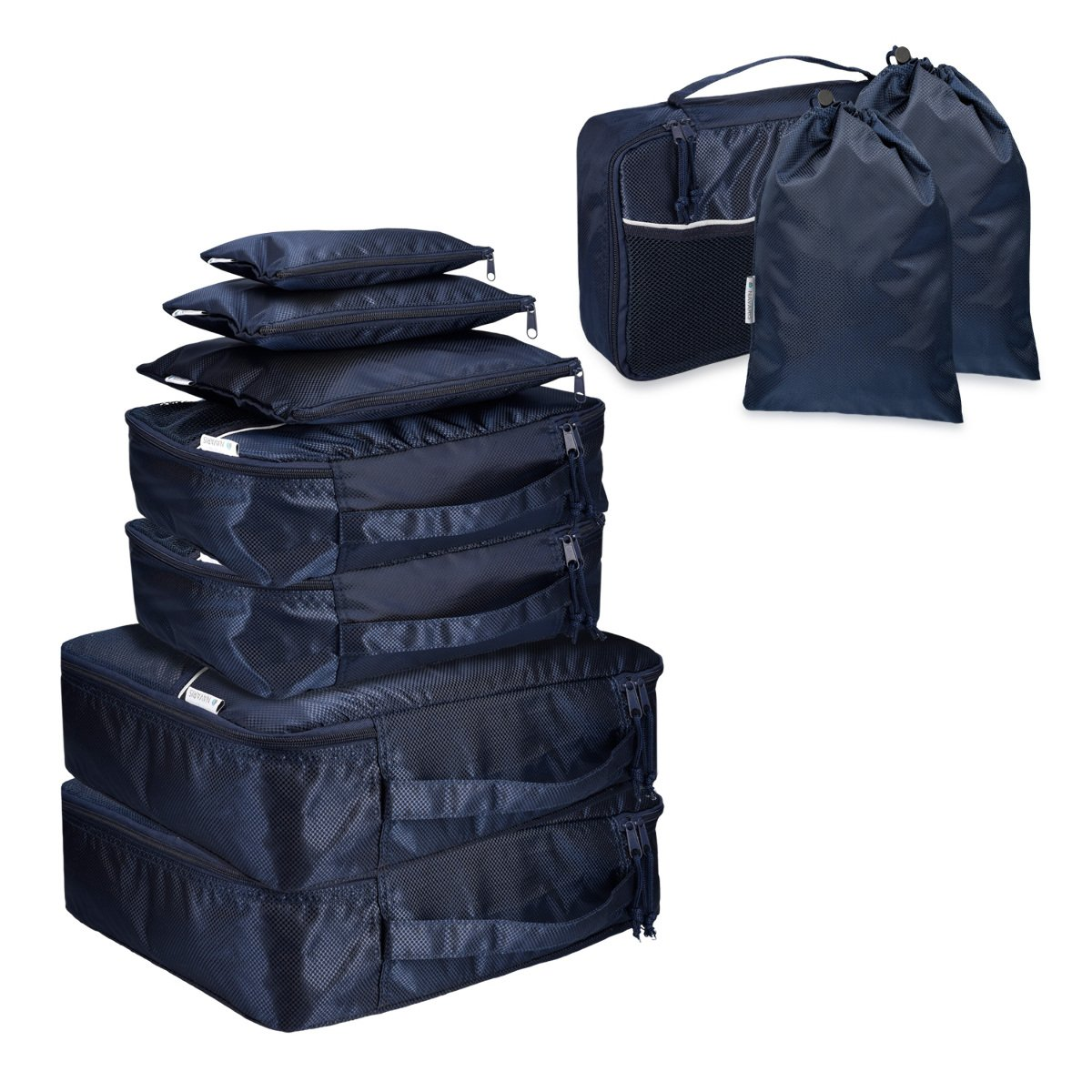 f6b7daa502622 Set de 9 Bolsas para Maleta de Navaris en Azul Oscuro - Bolsas de Ropa  Zapatos Ropa Sucia Mochila Organizador de Maleta Equipaje Viaje Vacaciones   ...