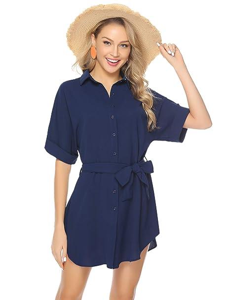 c049ce2ce Abollria Women Vintage V Neck Button Down Solid Color Casual Dress Navy Blue