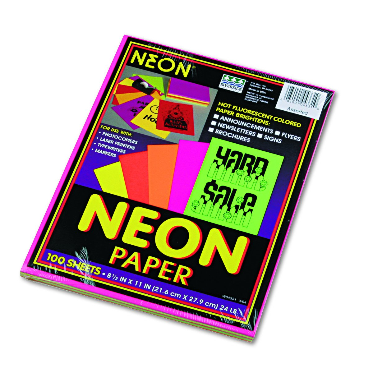Pacon Neon Bond Paper, 8 1/2-Inchx11-Inch, Assorted Five Colors, 100-Sheet 104331