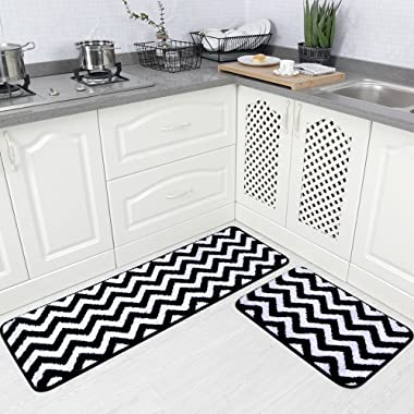 Carvapet 2 Pieces Microfiber Chevron Non-Slip Soft Kitchen Mat Bath Rug Doormat Runner Carpet Set, 17 x48 +17 x24 , Black